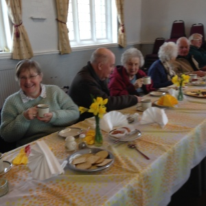 Scene from a Lenten lunch held in the Hall. One of the series of lunches held every year